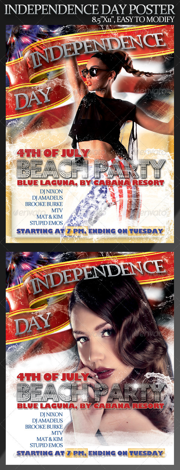 Graphic River 4th of July Poster 8.5 x11  Print Templates -  Flyers  Events  Clubs & Parties 299699