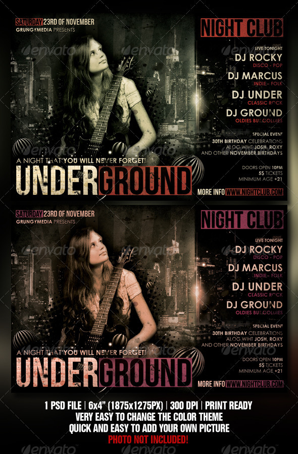 GraphicRiver Grunge Party Flyer 1479396