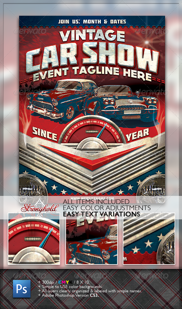 GraphicRiver Vintage Car Show Flyer 1482714
