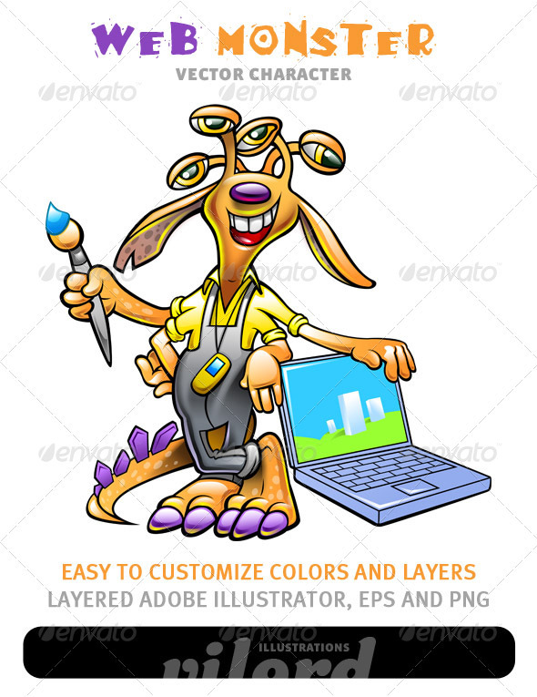 Graphic River Web Monster Mascot Vectors -  Characters  Monsters 1482737