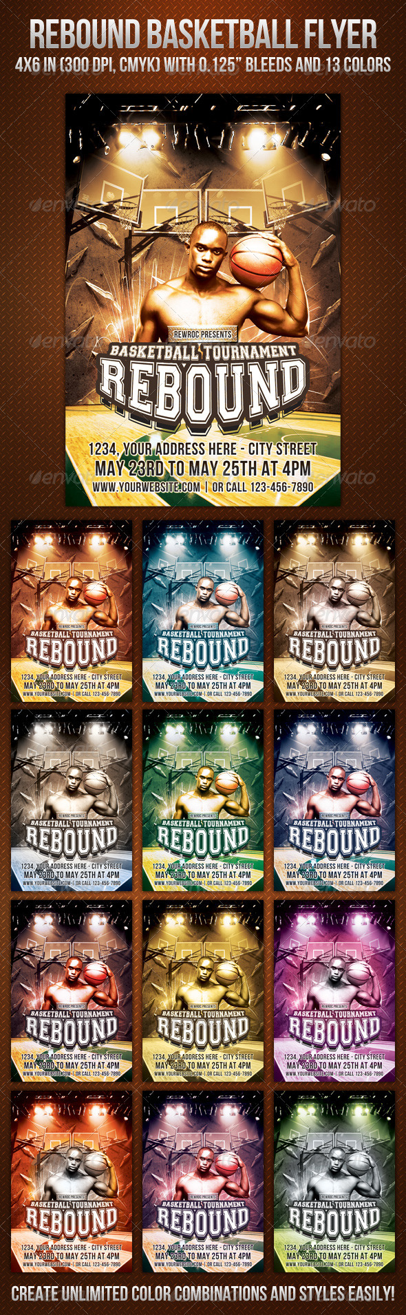 Graphic River Rebound Basketball Flyer Print Templates -  Flyers  Events  Sports 725122