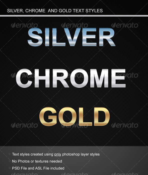 GraphicRiver Silver Chrome and Gold Text styles 58613