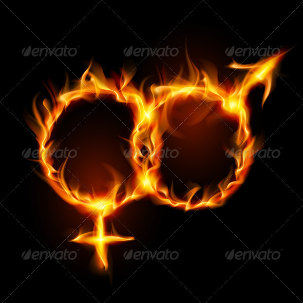 Graphic River Man and woman burning symbol  Vectors -  Characters  People 1485247