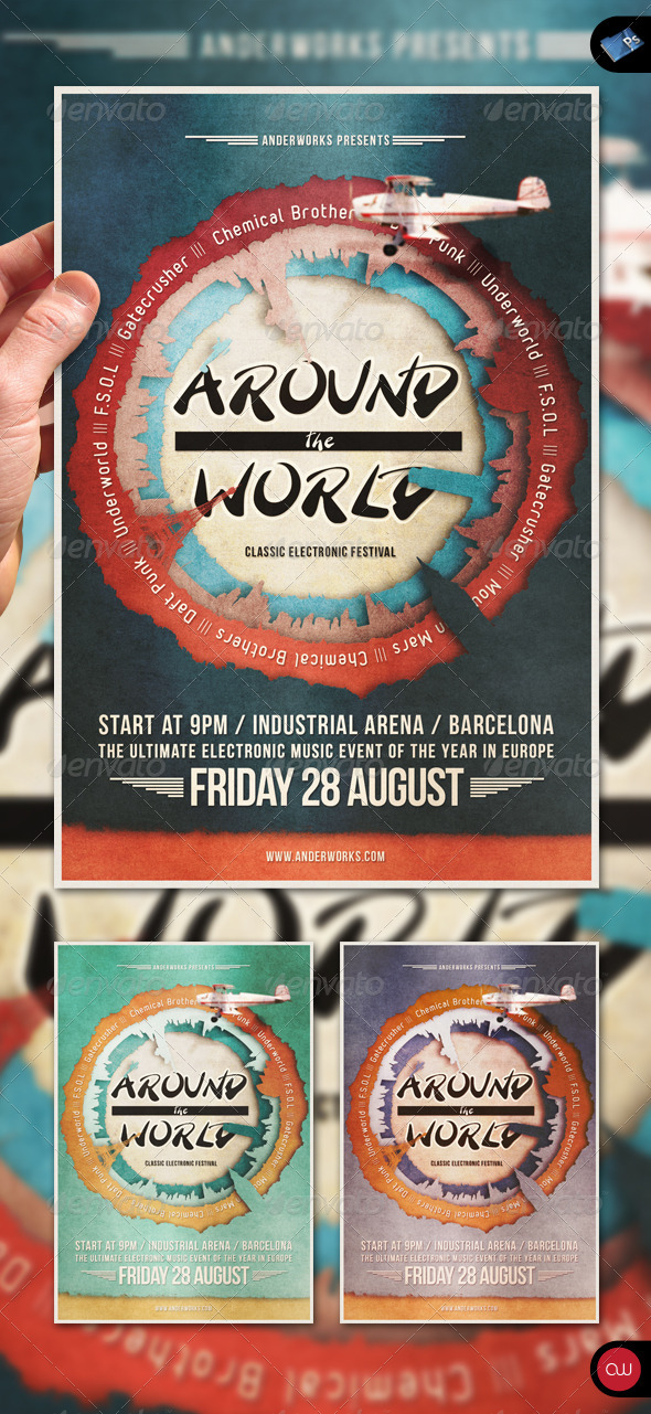 GraphicRiver Music Flyer Vol.3 Around the World 1485921