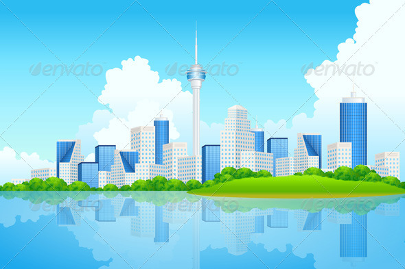Graphic River Business City Background Vectors -  Conceptual  Business  Backgrounds 1487167