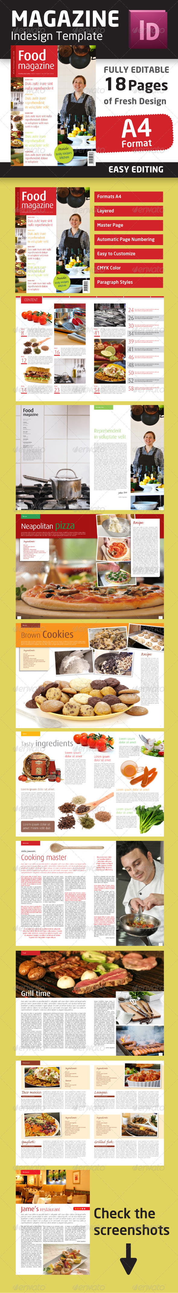 Graphic River Indesign Food Magazine Template in A4 format Print Templates -  Magazines 1474710