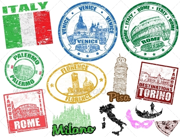 Graphic River Stamps with Italy Vectors -  Conceptual  Travel 1487971