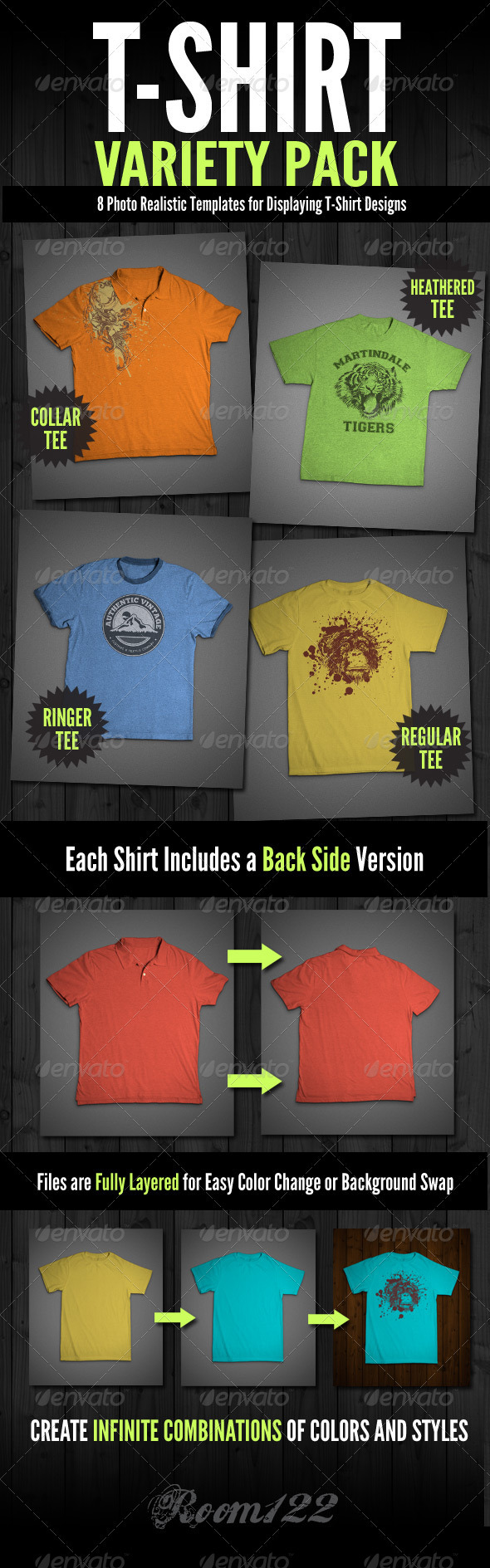 GraphicRiver T-Shirt Mock-Ups Variety Pack 1488618