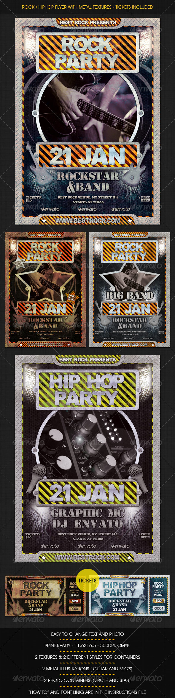 GraphicRiver Rock HipHop flyer w Tickets 1471642