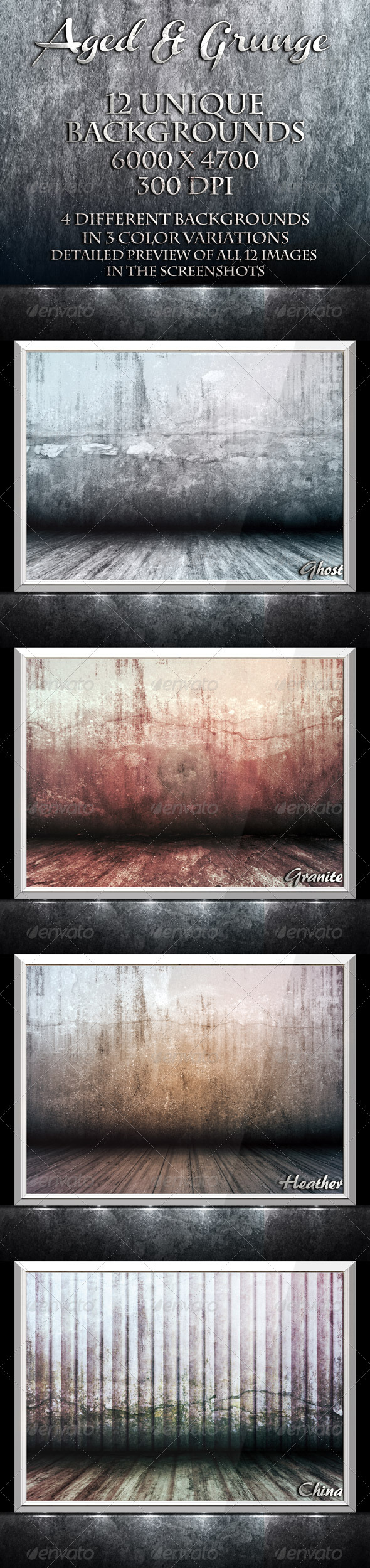 GraphicRiver Aged & Grunge 12 Unique Backgrounds 1471717