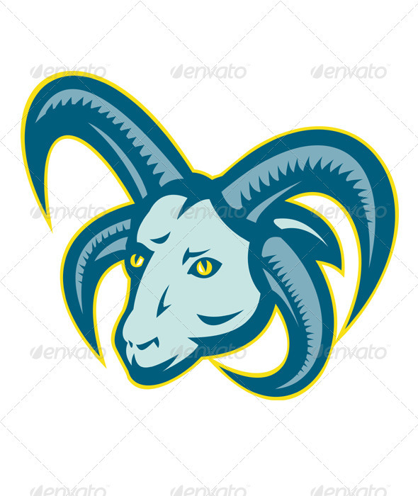 Graphic River Manx Loaghtan Sheep Ram Head Mascot Vectors -  Characters  Animals 1489194