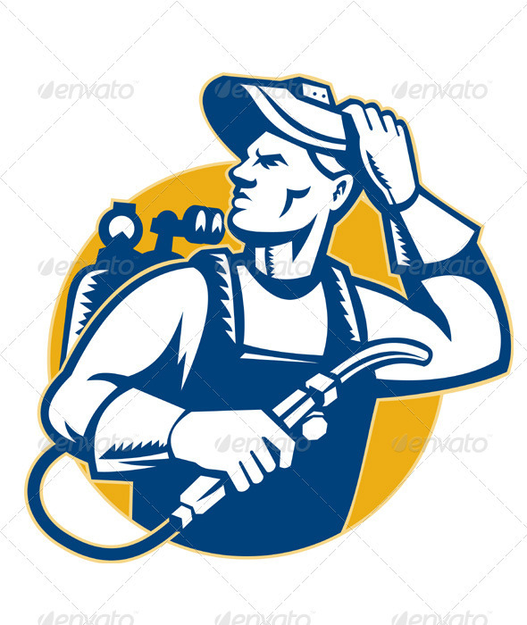 Graphic River Welder Fabricator Welding Retro Style Vectors -  Characters  People 1489197