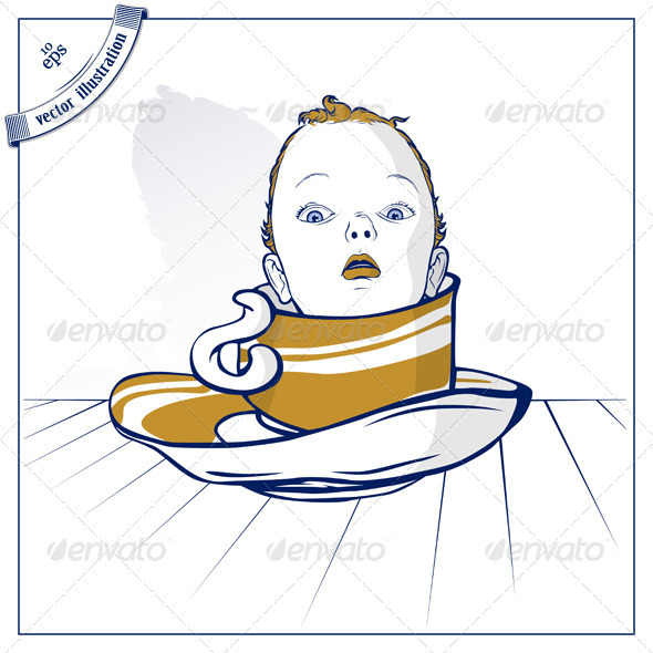 Graphic River Baby Child On Coffee Cup Vectors -  Characters  People 1489465
