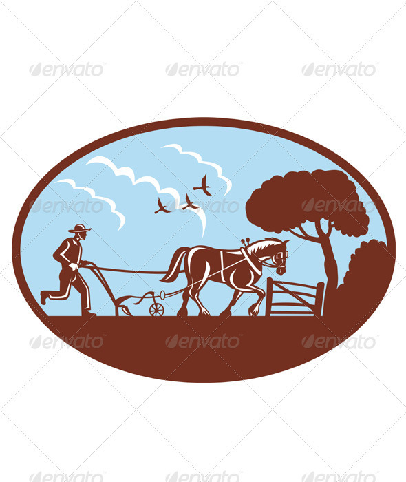 Graphic River Farmer And Horse Plowing Retro Style Vectors -  Conceptual  Business  Industries 1490043
