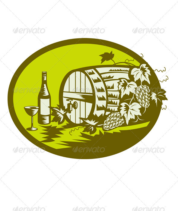 Graphic River Wine Cask Barrel Bottle Grape Retro Vectors -  Objects  Food 1490052
