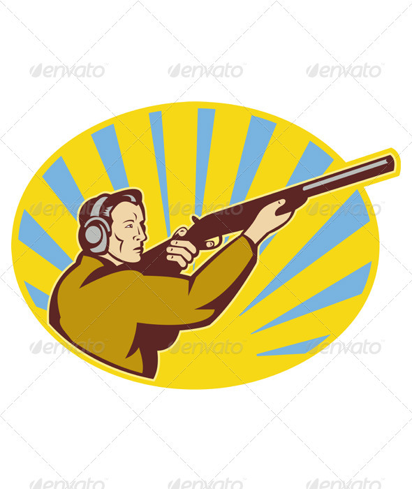 Graphic River Hunter With Shotgun Rifle Aiming Side Vectors -  Characters  People 1490056