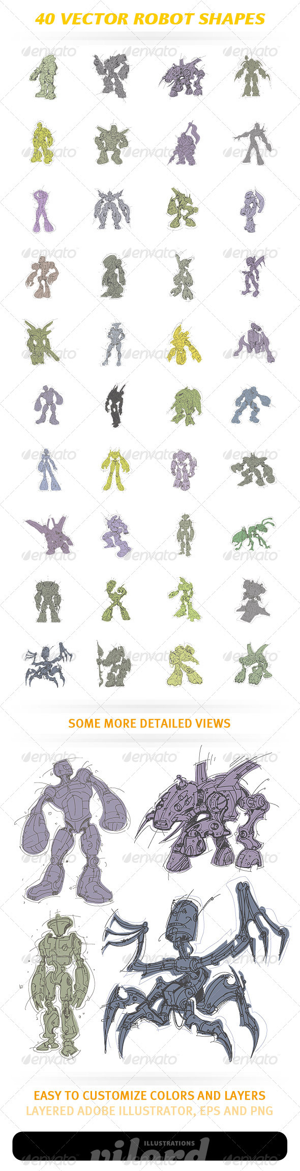 GraphicRiver 40 Vector Robot Shapes 1490137