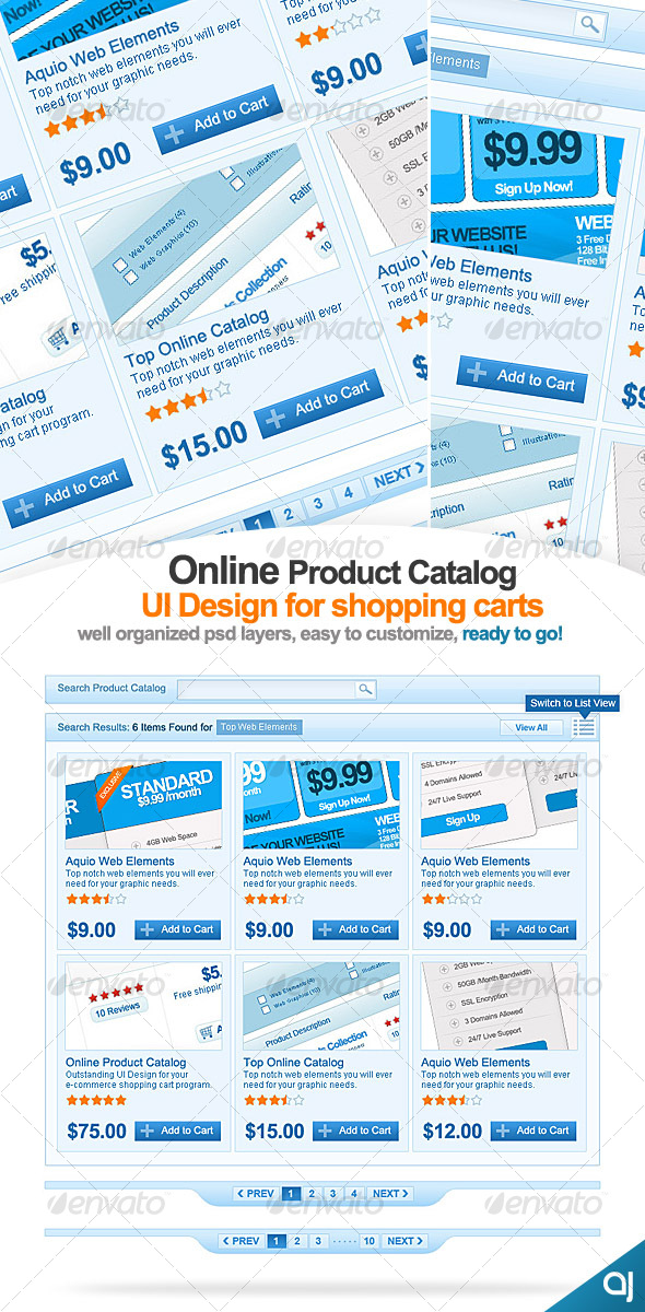 GraphicRiver Clean Online catalog UI design for shopping carts 58948
