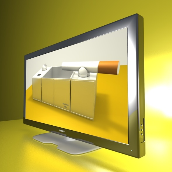 3DOcean 3D TV chrome 3D Models -  Electronics  Video 1495635