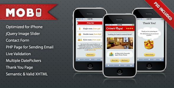 Themeforest Mobi iPhone Landing Page