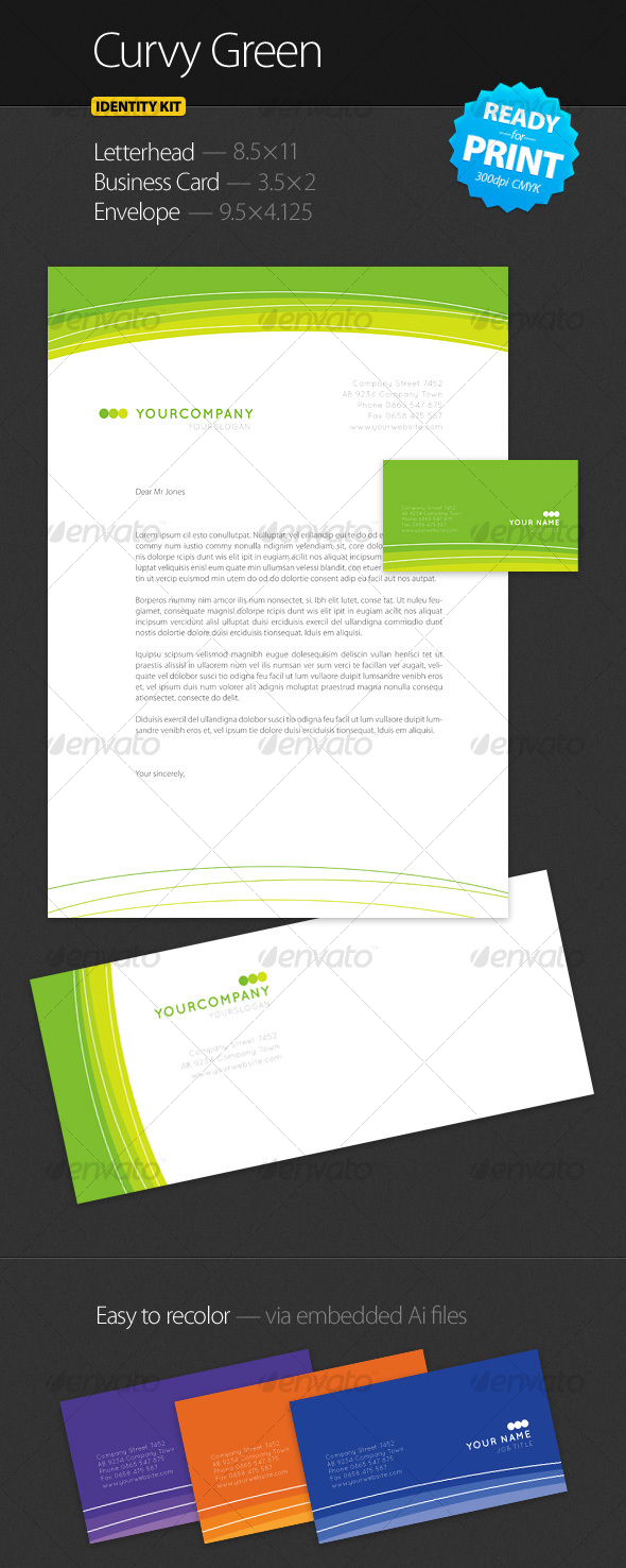 GraphicRiver Curvy Green Identity Kit 59011