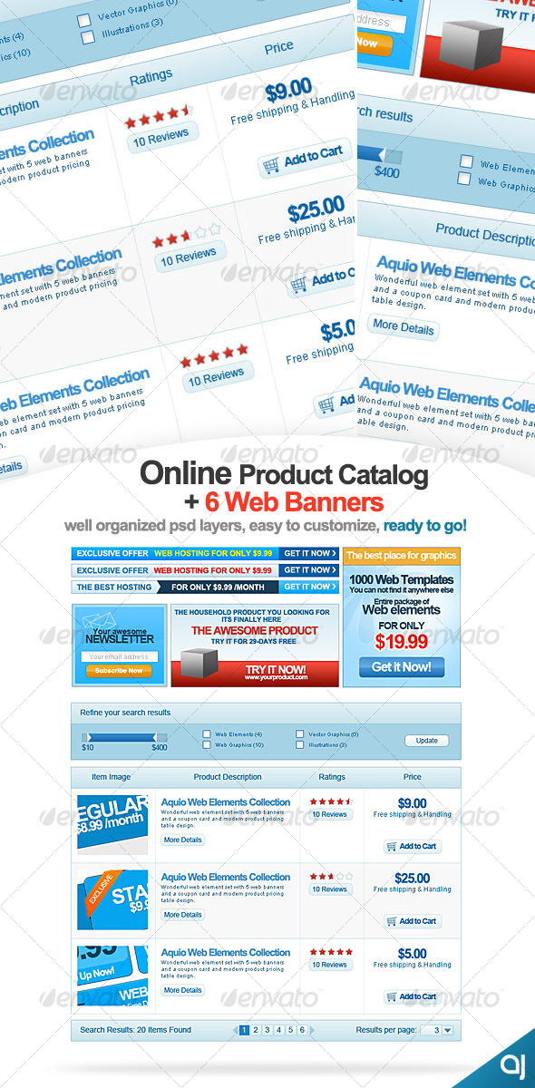 GraphicRiver Online Product Catalog & 6 Banners 58708