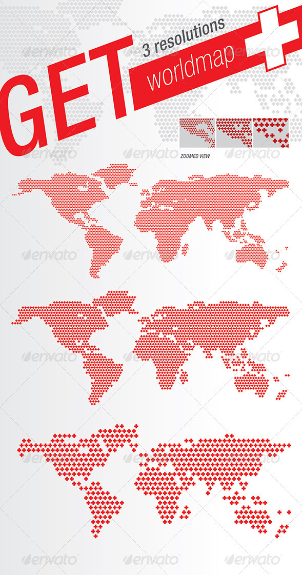 GraphicRiver World Map Plus & Crosses 1497941