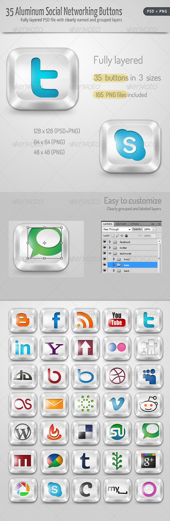 GraphicRiver 30 Aluminum Social Networking Buttons 367249