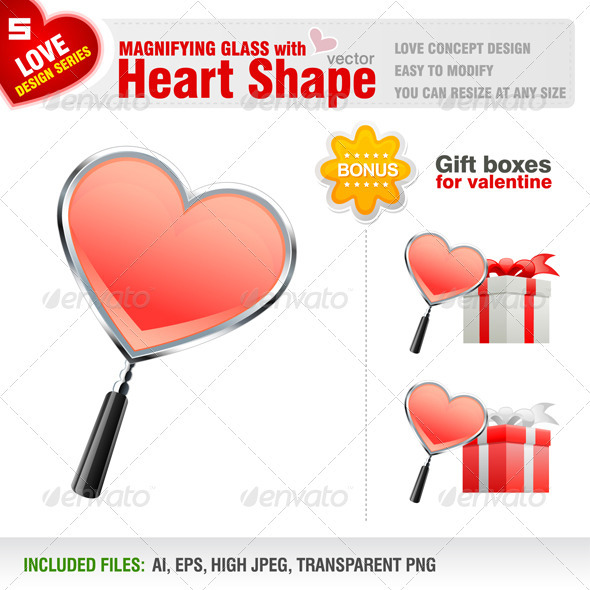 GraphicRiver Magnifying Glass with Heart Shape 1498447