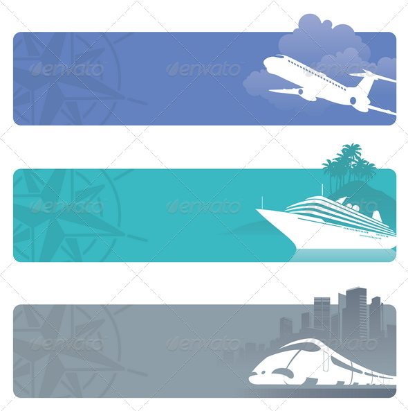 GraphicRiver Travel Banners With Contemporary Transport 1500614