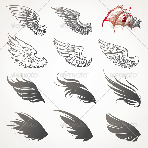 GraphicRiver Vector Set of Decorative Wings 1500662