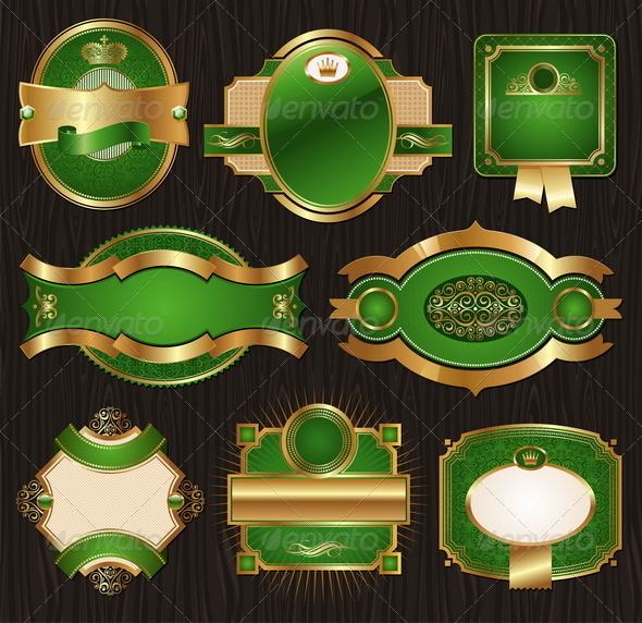 GraphicRiver Golden & green Luxury Ornate Framed Labels 1500687