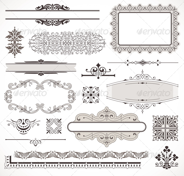 GraphicRiver Set of Ornate Page Decor Elements 1500747