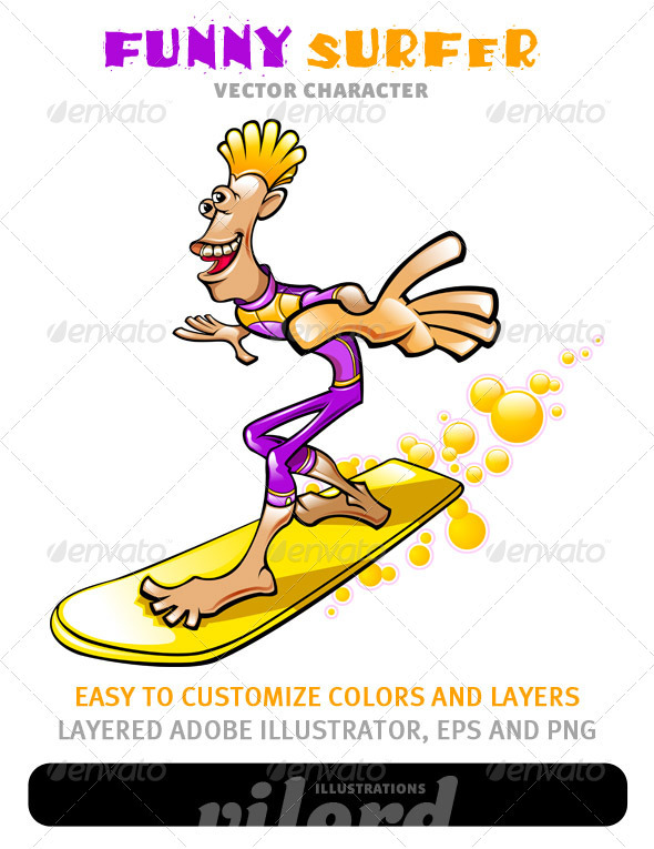 Graphic River Funny Surfer Mascot Vectors -  Conceptual  Sports/Activity 1500867