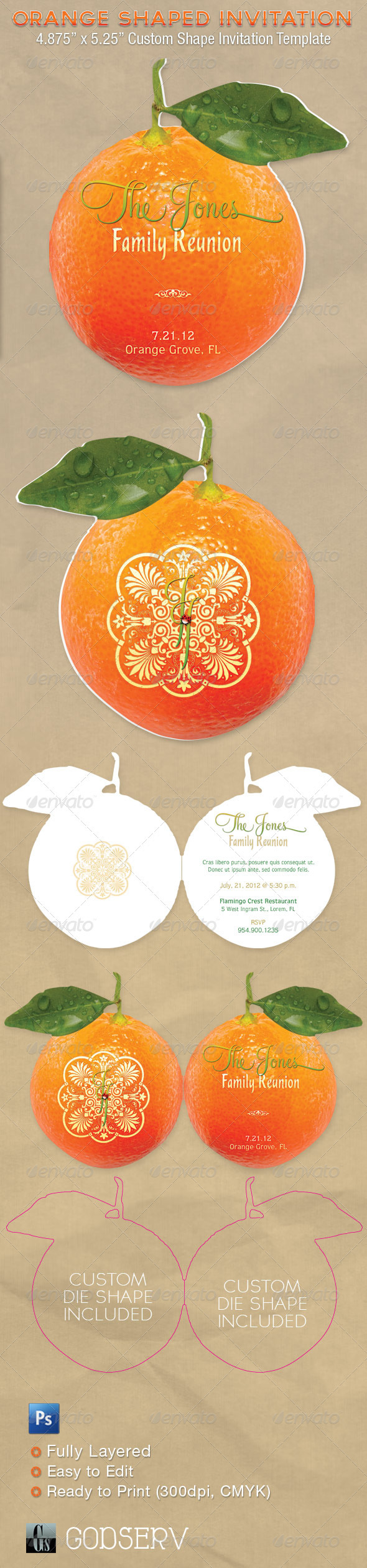 GraphicRiver Orange Shaped Invitation Card Template 1482233