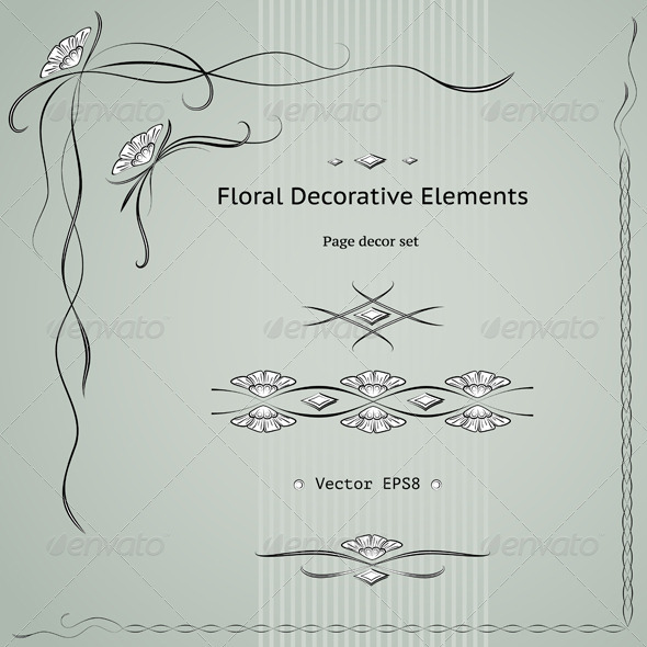 Graphic River Floral Decoration Elements Set Vectors -  Decorative 1501865
