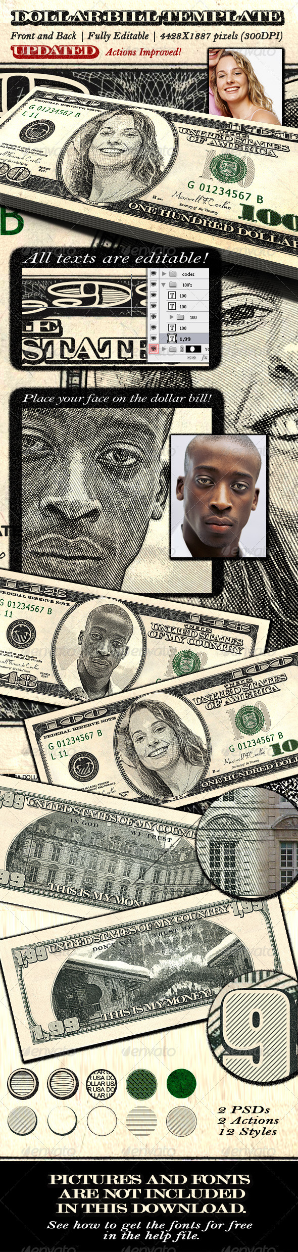 GraphicRiver Dollar Bill Template Front and Back 1373600