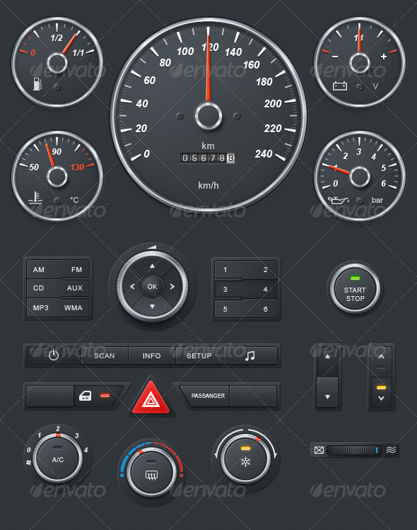 GraphicRiver Realistic Car Dashboard 1509508