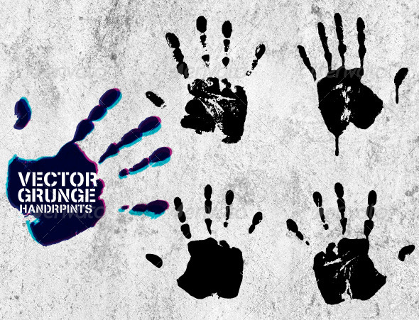 GraphicRiver Vector Grunge Hand Prints 178719
