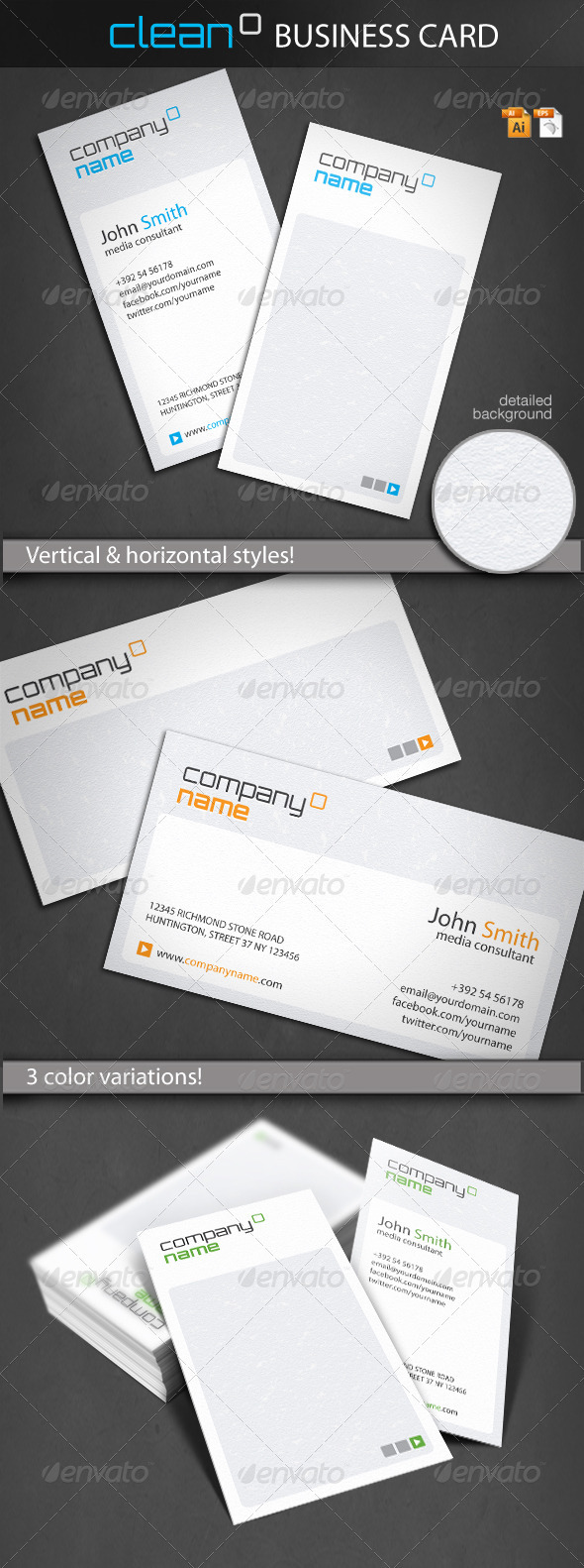 Graphic River Clean Business Card Print Templates -  Business Cards  Corporate 1515917