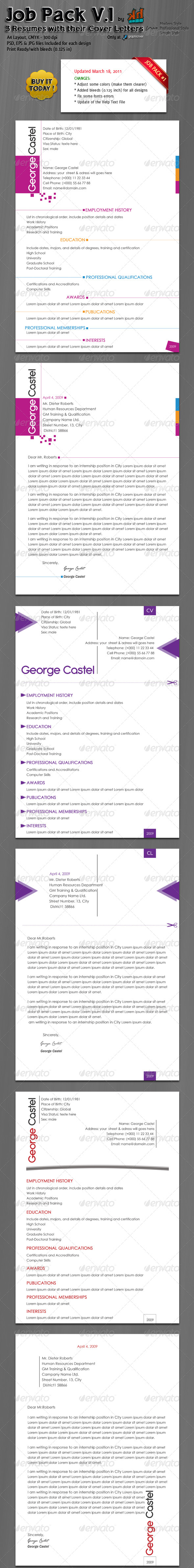 GraphicRiver JOB PACK 3 Resumes with their Cover Letters 73734