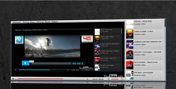 ActiveDen AS3 VIMEO YOUTUBE FLV Video Player with Playlist 1322612