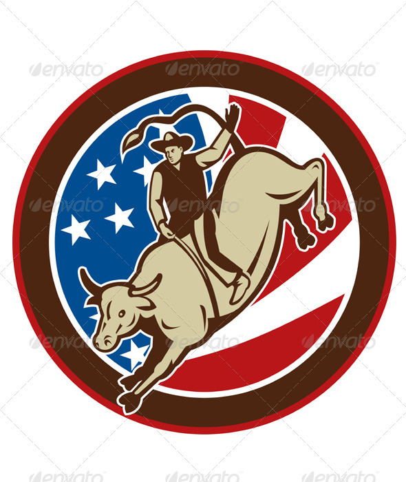 Graphic River American Rodeo Cowboy Riding Bull Vectors -  Characters  Animals 1517507