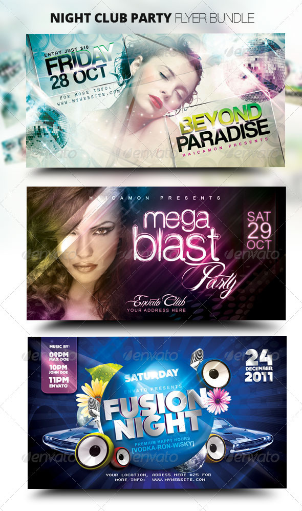 GraphicRiver Night Club Party Flyer Bundle 1397961