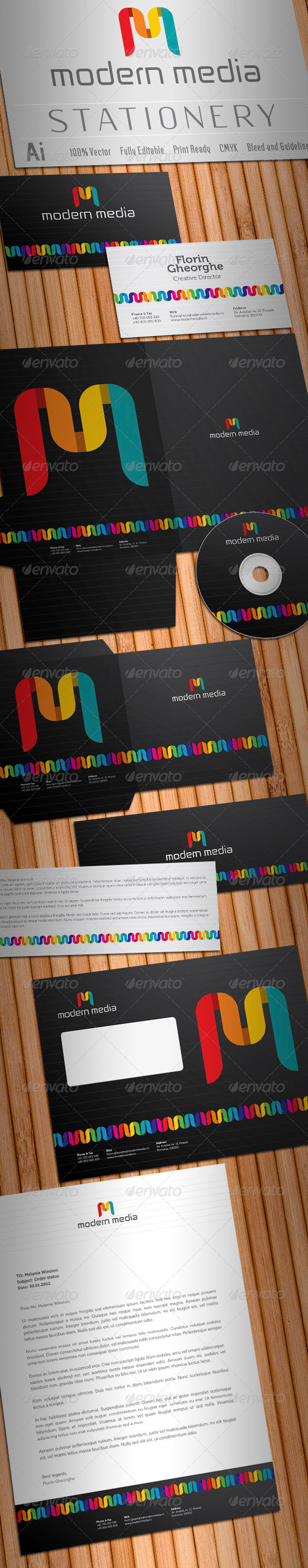Graphic River Modern Media Stationery V2 Print Templates -  Stationery 1520152