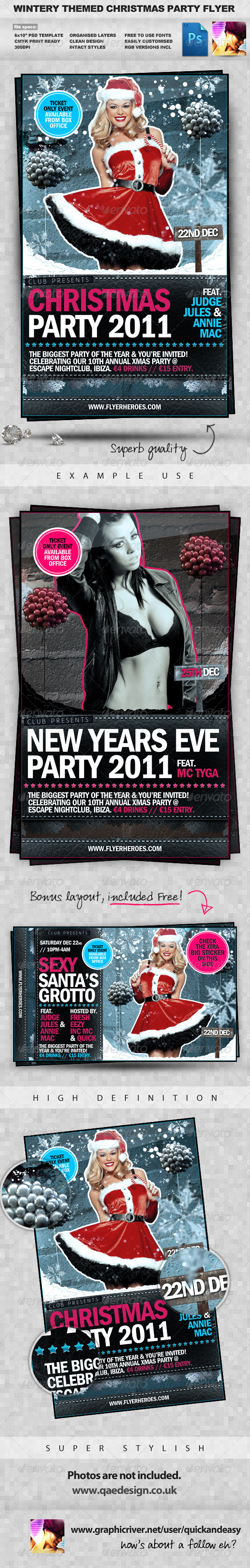 Graphic River Wintery Christmas & New Years Eve PSD Party Flyer  Print Templates -  Flyers  Events  Clubs & Parties 738524