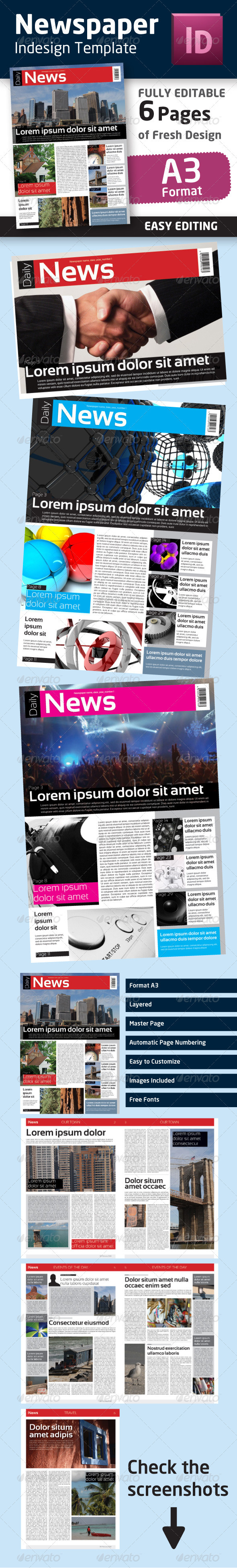 Graphic River Indesign Newspaper Template in Format A3 Print Templates -  Newsletters 1502958