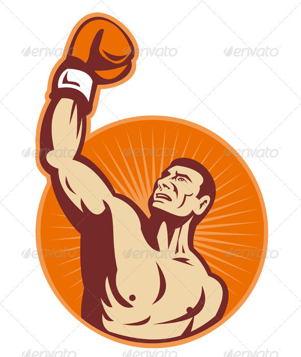 Graphic River Boxer With Boxing Gloves Retro Vectors -  Characters  People 1524527
