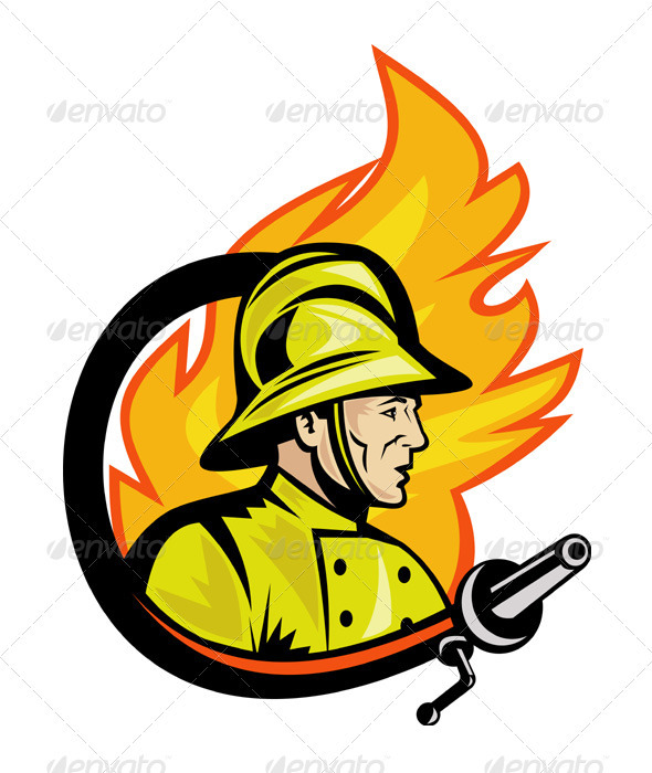 Graphic River Fireman Firefighter With Fire Hose Retro Vectors -  Characters  People 1524543