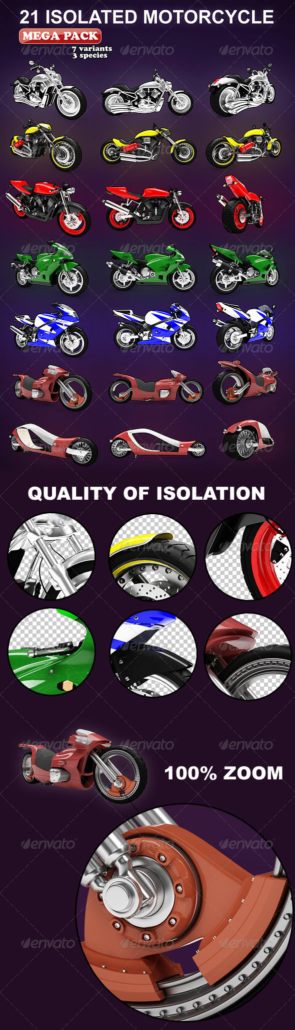 Graphic River Isolated Motorcycles Mega-Pack 7 variation  Graphics -  3D Renders  Objects 1507409